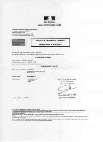 récépissé,déclaration,association,loi de 1901,Le Havre,Etretat